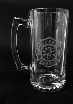 Firefighter beer mug Fireman etched mug by ExpressionsGlassware