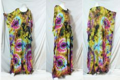 vtg HIPPIE BOHO thai handmade full rainbow tie dye kimono kaftan maxi dress 299