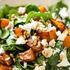 This Roast Pumpkin, Spinach and Feta Salad with a Honey Balsamic Dressing is a magical combination. Terrific side or as a meal. This Roast Pumpkin, Spinach and Feta Salad with a Honey Balsamic Dressing is a magical combination. Terrific side or as a meal. Salad Recipes For Dinner, Healthy Salad Recipes, Vegetarian Recipes, Cooking Recipes, Salads For Lunch, Spinach Recipes, Meal Salads, Vegetarian Salad, Recipe For Salad