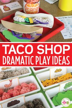 Check out all of these taco shop dramatic play ideas. Transform your dramatic play area into a taco restaurant or taco truck. This is perfect for your dramatic play center your preschool or pre-k classroom. You will have fun with these DIY ideas for makin Dramatic Play Themes, Dramatic Play Area, Dramatic Play Centers, Preschool Dramatic Play, Restaurant Themes, Taco Restaurant, Preschool Restaurant, Prop Box, Preschool Centers