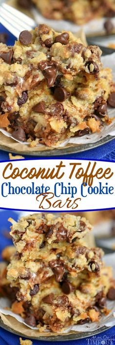 Coconut Toffee Chocolate Chip Cookie Bars are impossible to resist with their ooey, gooey center and incredible flavor! Great for parties and potlucks! // Mom On Timeout (coconut chocolate chip cookies kitchens) Köstliche Desserts, Delicious Desserts, Dessert Recipes, Yummy Food, Bar Recipes, Tasty, Recipes Dinner, Health Desserts, Crack Crackers