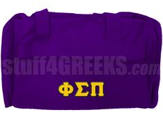 purple phi sigma pi duffel bag with greek letters across the front