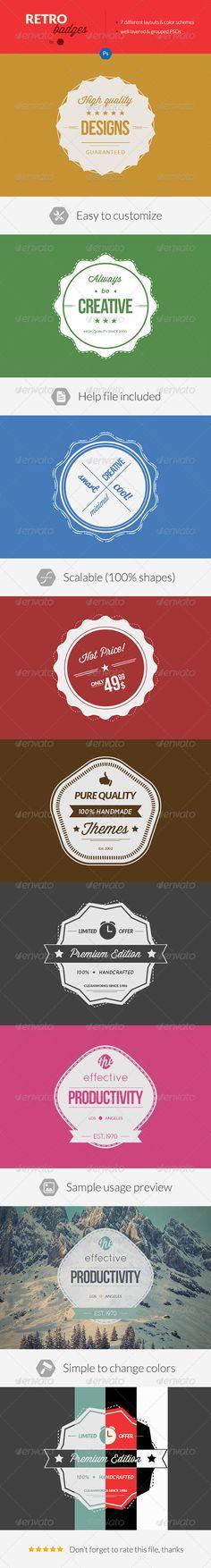 Retro Photoshop Badges / Vintage Minimal Labels - Badges & Stickers Web Elements