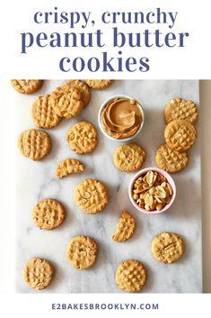 Crispy, Crunchy Peanut Butter Cookies   e2 bakes brooklyn Italian Butter Cookies, Danish Butter Cookies, Gluten Free Peanut Butter Cookies, Almond Butter Cookies, Chocolate Peanut Butter Cookies, Peanut Butter Cookie Recipe, Cookie Recipes, Jam Cookies, Keto Cookies