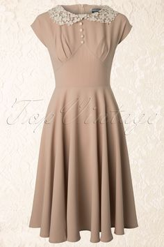 Bunny - 40s Emillie Dress in Beige