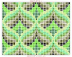 Bargello Pattern - Free tapestry crochet pattern from Broderie Bargello, Bargello Needlepoint, Bargello Quilts, Needlepoint Stitches, Needlework, Bargello Patterns, Tapestry Crochet Patterns, Weaving Patterns, Crochet Diagram