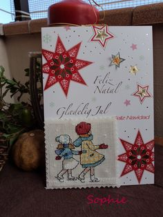 Tarjeta Navidad niñas patines
