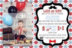 Little Man Mustache Bash Invitation Template 4X6 by LuckyBean33, $14.00