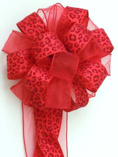 6 Red Cheetah Leopard Bows Animal Theme Decoration bows  by greentraderllc, 90.00