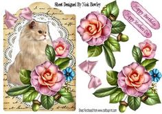 Fluffy persian cream cat with summer roses on Craftsuprint - Add To Basket!