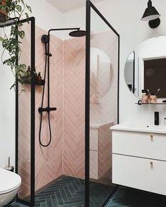 Pink Tiles, Pink Bathroom Tiles, Bathroom Sinks, Bathroom Black, Master Bathrooms, Indian Bathroom, Bathroom Wall, Showers For Small Bathrooms, Colourful Bathroom Tiles
