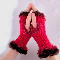 Evening Fingerless Mittens - Cherry and Chocolate Fingerless Mittens, Knitted Gloves, Hand Wrist, Handmade Christmas Decorations, Wrist Warmers, Unique Cards, Red Christmas, Hand Knitting, Steampunk