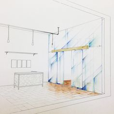 Perspective - glass door - the hostel entrance - colored with pencils