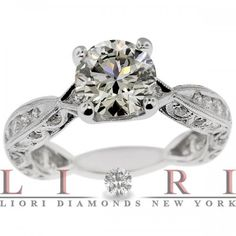 3.03 Carat H-SI1 Certified Natural Round Diamond Engagement Ring 18k White Gold - Vintage Style Engagement Rings - Engagement - Lioridiamonds.com