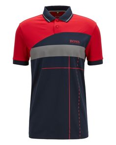 BOSS Hugo Martin Kaymer regular-fit polo shirt dynamic artwork L Red Mens Polo T Shirts, Red Polo Shirt, Boys Shirts, Men's Polo, Camisa Polo, Boss Brand, Hugo Boss Man, Slim Fit Trousers, Dress For Success