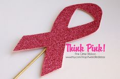 Breast Cancer Pink Ribbon - Photo Booth Props - On a Stick - Photobooth - October - Party Favors