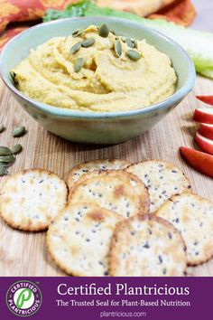 This slightly sweet oil-free pumpkin hummus is ready in a flash, and it's great for a fall afternoon snack. It's vegan, gluten-free, and Plantricious certified. Plant Based Recipes, Veggie Recipes, Whole Food Recipes, Vegetarian Recipes, Healthy Recipes, Pumpkin Hummus, Pumpkin Soup, Vegan Thanksgiving, Thanksgiving Ideas
