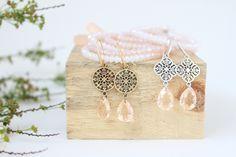 Sommertraum in Peach mit Kupfer / Silber und Facettenarmbänder in Peach