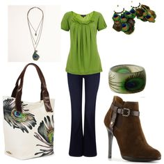 """Peacock"" by jklmnodavis on Polyvore;  I will be adding lots of green to my wardrobe!!"