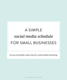 A simple social media schedule for small businesses