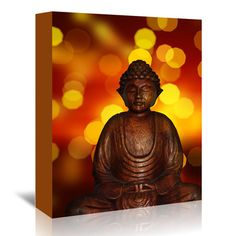 "East Urban Home Buddha With Bokeh Art Photographic Print on Wrapped Canvas Size: 7"" H x 5"" W x 1.5"" D"