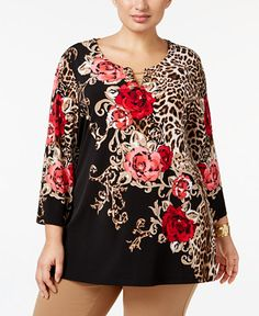JM Collection Plus Size Printed Chain-Link Tunic, Only at Macy's