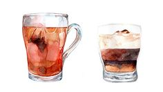 Watercolour study of drinkable fluids.