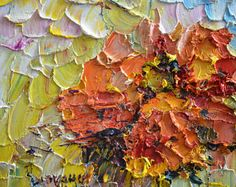 Original Oil Painting Poppy Poppies Flower Field Art Palette Knife Impasto Textured