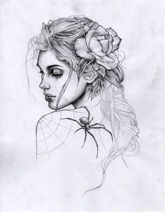 Chaotic-Kookie Dark Art Drawings, Pencil Art Drawings, Art Drawings Sketches, Tattoo Sketches, Tattoo Drawings, Girl Face Tattoo, Girl Face Drawing, Adam Isaac Jackson, Dibujos Tattoo