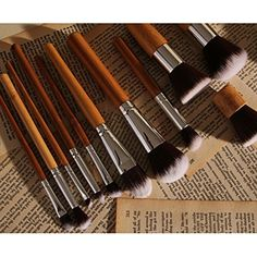 Pro 11Pcs Natural Bamboo Handles Super Soft Makeup Brush Set Cosmetic Blending ** Continue to the product at the image link. (This is an affiliate link) #ToolsAccessories