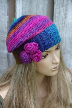 Crochet Beret Beanie Slouchy Women Rainbow Women hat Girls Hat,Flower