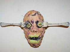 Timothy Archer: Tête à la Fourchette technique mixte sur papier maché 2011