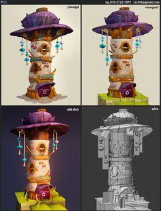 dofus fan art by eunkyung LEE on ArtStation. Game Level Design, Game Design, Environment Concept Art, Environment Design, Digital Painting Tutorials, Art Tutorials, Zbrush, Fantasy, 3d Cinema