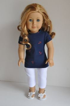 American Girl Doll Clothes Navy with Red Anchors by CircleCSewing