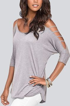 Cold Shoulder 3/4 Length Sleeve T-shirt with Strappy Detail
