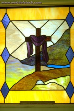 Religious Stained Glass Windows | titled: Purple Cloth Draped On Cross showing Jesus' resurrection;On Stained Glass Church Window ...