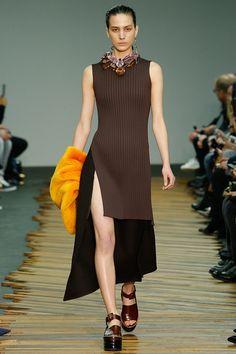 Céline F/W 2014, black and brown dress, orange fur, platform sandals / Garance Doré