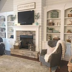 If you are thinking of getting a fireplace there are a million different types of fireplace designs to choose from. Whether you want a classic brick fireplace designs or a more modern type, you are sure to find the design… Continue Reading → Fireplace Built Ins, Farmhouse Fireplace, Home Fireplace, Fireplace Remodel, Living Room With Fireplace, Fireplace Design, My Living Room, Living Room Decor, Fireplace Ideas