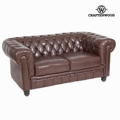 If you want to add a touch of originality to your home, you will do so with 2-seat brown sofa by Craften Wood. Material: faux leather Color: antique brown Lengt
