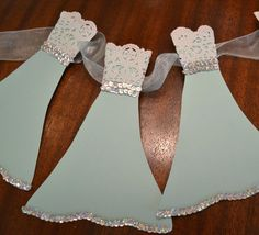 Wedding Dress Garland Paper Bridal Shower Decoration Sparkly White, Tiffany Green Blue, Silver, White, Lace