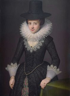 24-11-11 Attributed to Salomon Mesdach (fl. 1617–1632) Title Portrait of Anna Boudaen Courten (1599-1622). Description Portrait of Anna Boudaen Courten, wife of Jacob Pergens. Standing, at half length, her left hand leaning on a table. Pendant of: File:Attributed to Salomon Mesdach 001.jpg Date 1619 Medium Oil on panel Dimensions 94.6 × 68.9 cm (37.2 × 27.1 in) Current location (Inventory)Rijksmuseum Amsterdam
