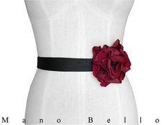 Leather Flower Belt  Boho Bridal Belt  Wedding Dress Belt