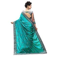 Buy PANASH TRENDS Women's Art Silk Saree with Blouse Piece (UJJ.K710_Turquoise) at Amazon.in Indian Sarees Online, 2018 Color, Net Saree, Work Sarees, Art Silk Sarees, Indian Attire, Half Saree, Female Art, Sari