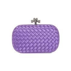 Bottega Veneta Intreccio Impero satin knot clutch (37 250 UAH) ❤ liked on Polyvore featuring bags, handbags, clutches, clasp purse, purple purse, clasp handbag, bottega veneta clutches and bottega veneta handbags