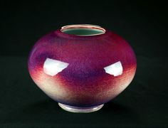Porcelain Purple & Red Vase | Hand thrown porcelain on a potter's wheel.  High Fired, Cone 10, Assorted Glazes, Hand Trimmed, Ceramic | Caldwell Pottery
