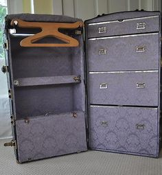 Antique Vintage Steamer Wardrobe Trunk    Super fun to look at. It'll be a while before I can afford this kind of fancy luggage. One day :)