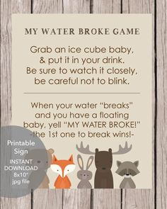 Woodland Animals Printable My Water Broke Baby Shower Game Otoño Baby Shower, Fiesta Baby Shower, Shower Party, Baby Shower Games, Baby Shower Parties, Shower Gifts, Baby Showers Modernos, Woodland Animals Theme, Woodland Baby