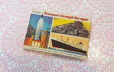 Vintage tea card album - Transport through the ages - Brooke Bond tea cards, cigarette cards, transport book, brooke bond picture cards