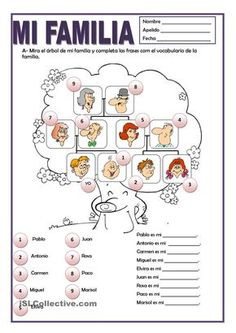 A printable activity to practice Spanish family vocabulary with kids.
