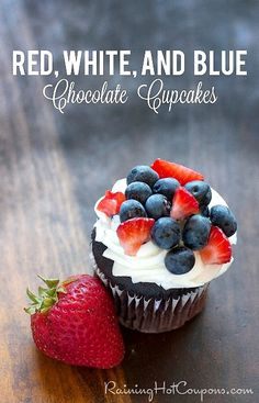 4th Of July Cupcakes Recipe: Red, White and Blue Chocolate Cupcakes